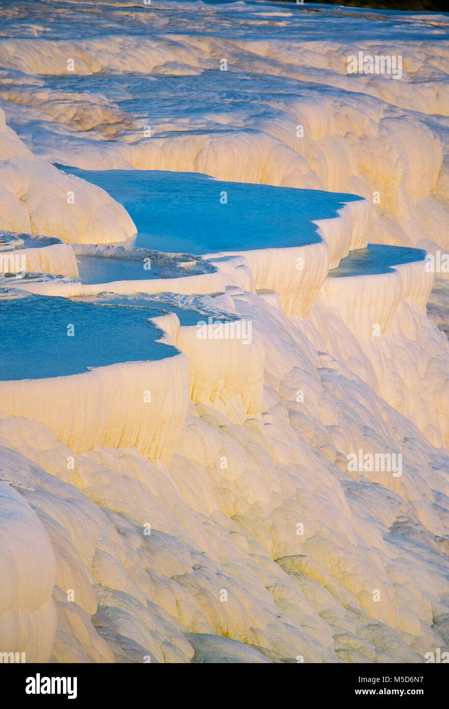 Terraced travertine thermal pools, Pamukkale, UNESCO World Heritage Site, Anatolia, Turkey - Stock Image
