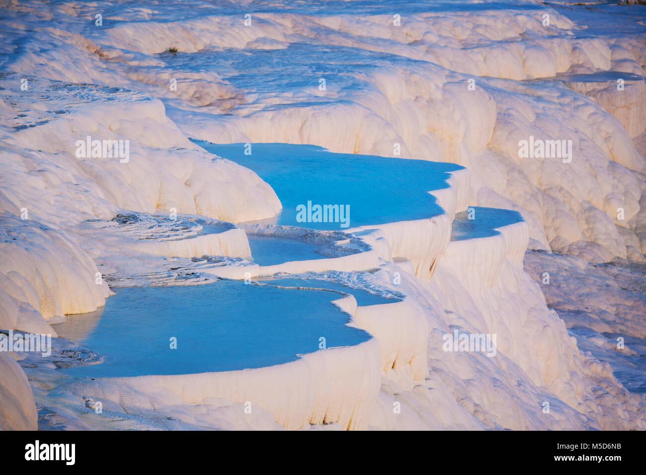 Terraced travertine thermal pools, Pamukkale, UNESCO World Heritage Site, Anatolia, Turkey - Stock Image