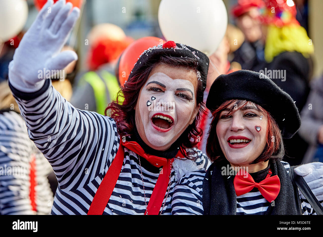 Two women in disguise at the Möhnenumzug, carnival, Mülheim-Kärlich, Rhineland-Palatinate, Germany - Stock Image
