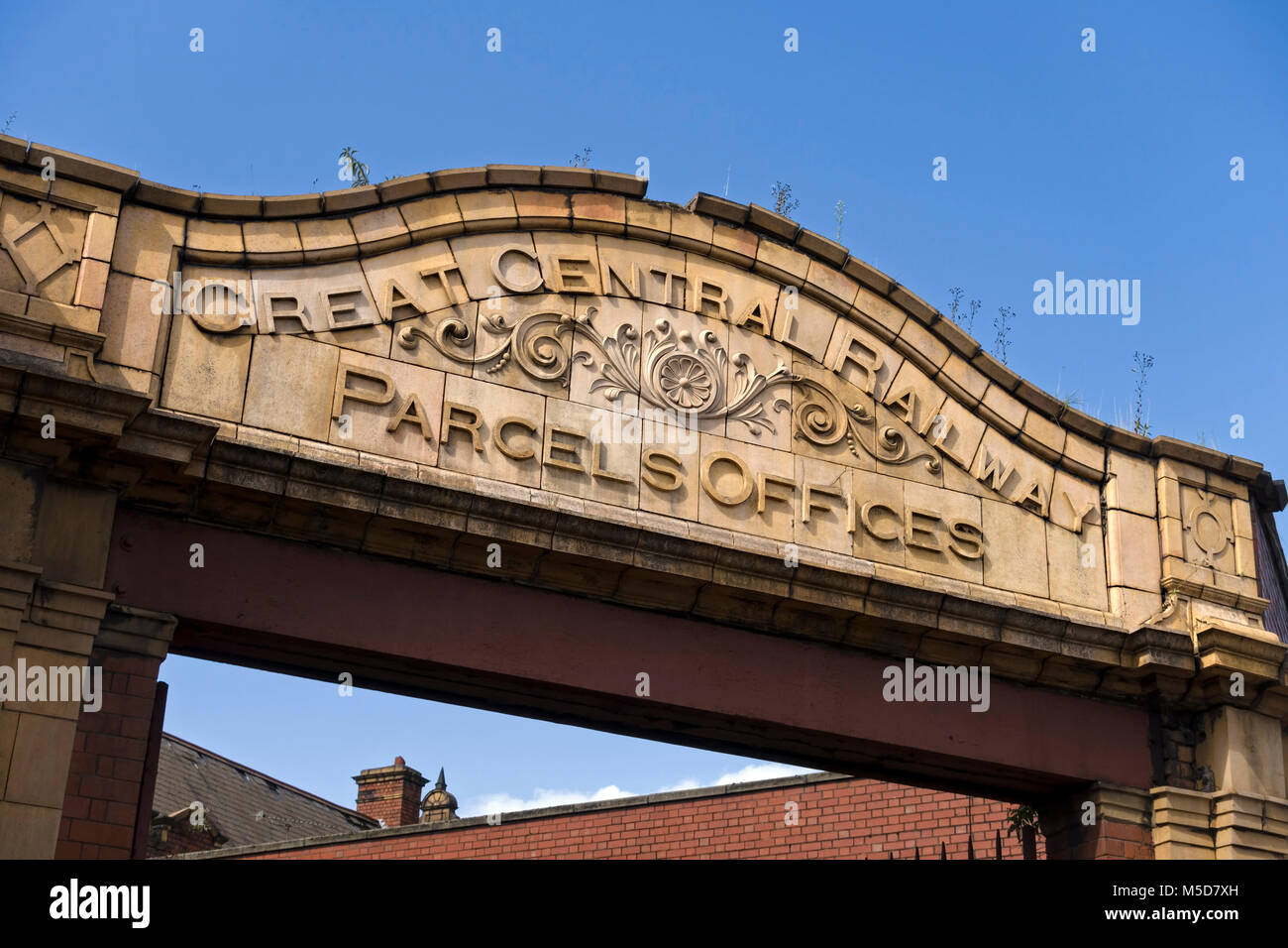 Great Central Railway sign above the entrance to the old and derelict (but soon to restored) Central Railway Station, - Stock Image