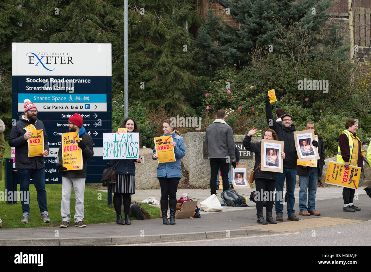 Exeter, Devon, UK. 22nd February, 2018. University teaching staff from the University and College Union (UCU) form Stock Photo