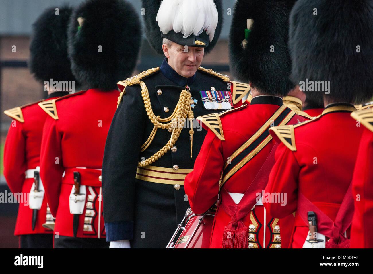 Windsor, UK. 21st February, 2018. Major General Ben Bathurst, Major General Commanding the Household Division, carries - Stock Image