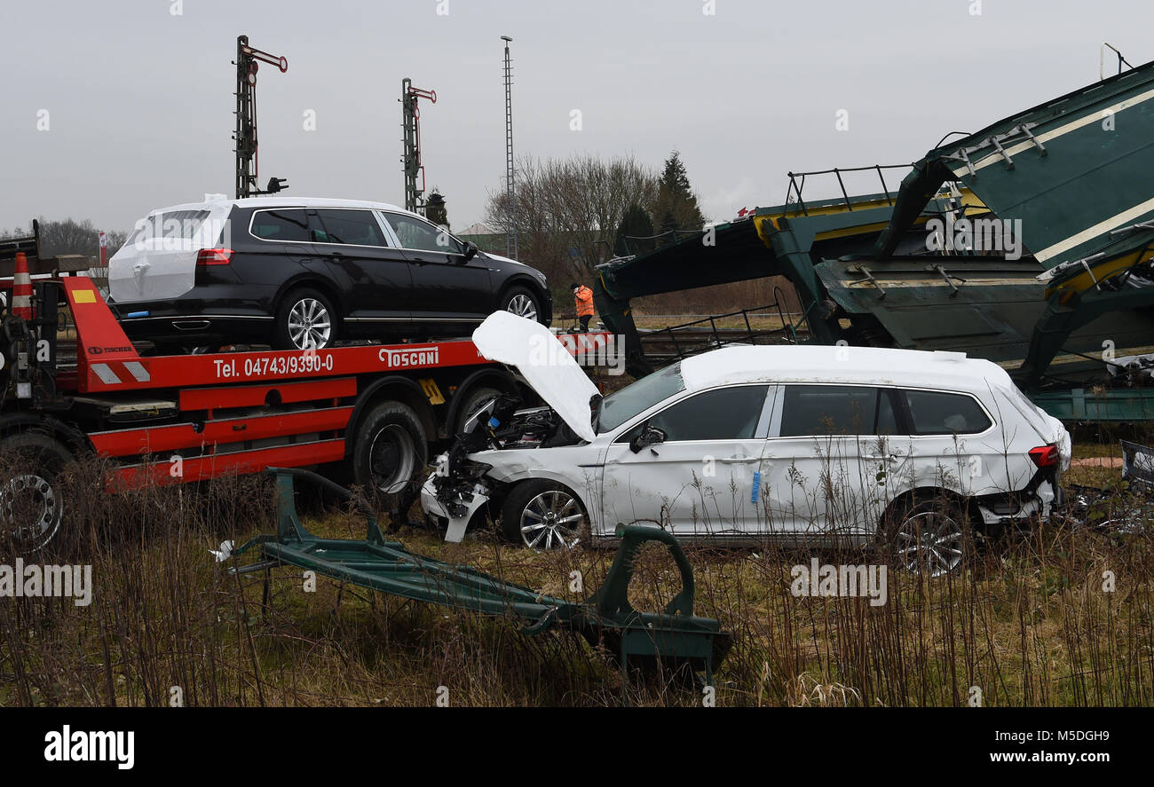 22 February 2018, Germany, Cuxhaven: New automobiles lie