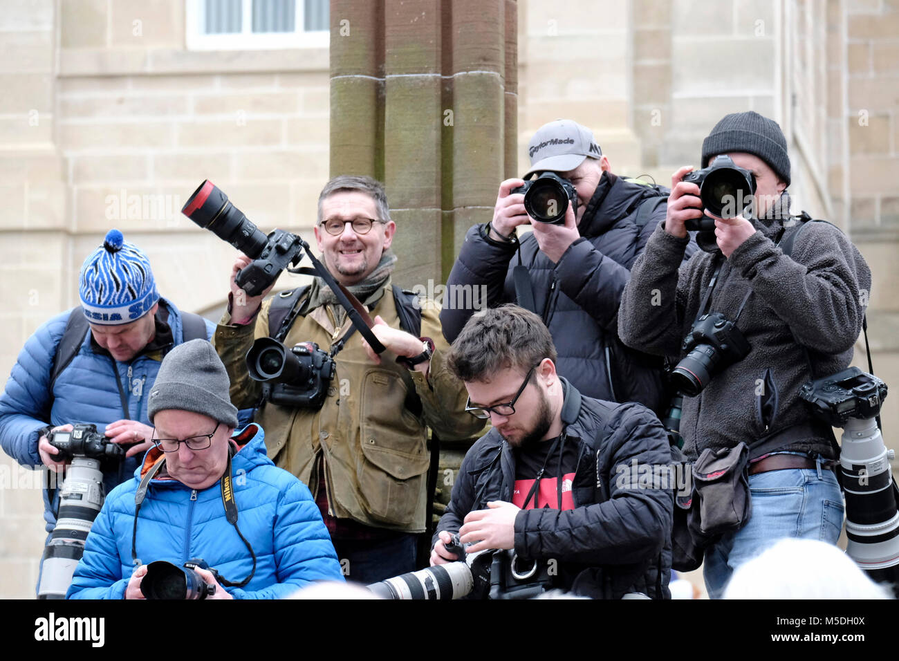 Jedburgh, Mercat Cross, UK. 22nd Feb, 2018. Jed Hand Ba' The annual game of hand ba' takes place every year the Thursday after Fastern's E'en. The tradition derives from 1548 when a party of Scots recaptured Ferniehirst Castle, a mile south of Jedburgh and used an Englishman's head in a celebratory game after the battle. Photographers from across the country arrive to document the event ( Credit: Rob Gray/Alamy Live News Stock Photo
