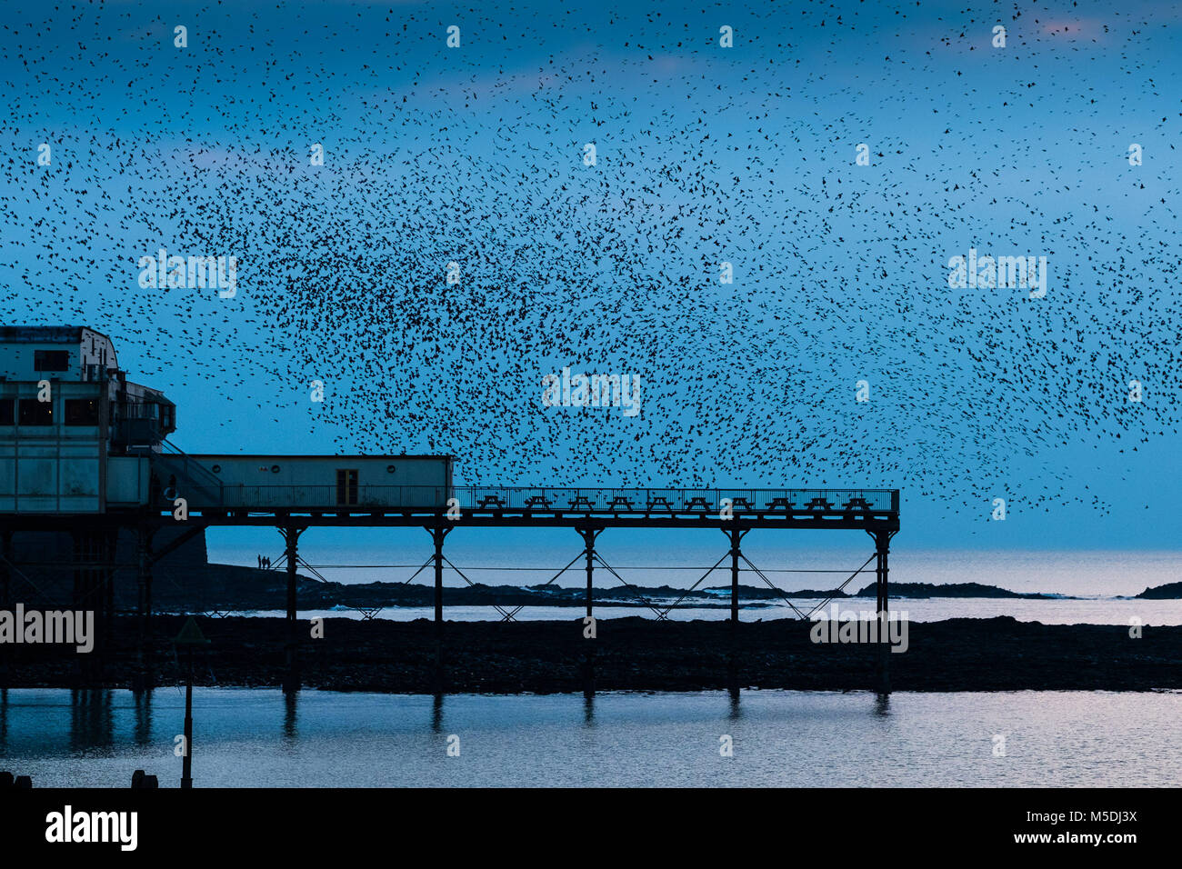 Aberystwyth Wales UK, Thursday  22 Feb 2018  UK Weather:  In the steel blue light of a cold February evening in Stock Photo