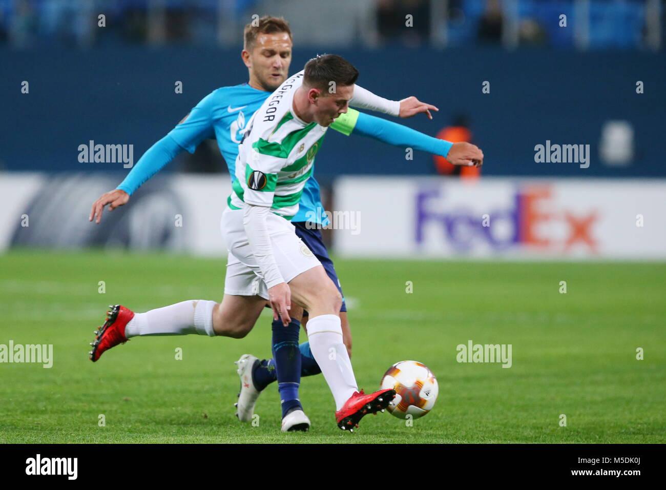 St Petersburg, Russia. 22nd Feb, 2018. ST PETERSBURG, RUSSIA - FEBRUARY 22, 2018: Celtic's Callum McGregor (front) - Stock Image
