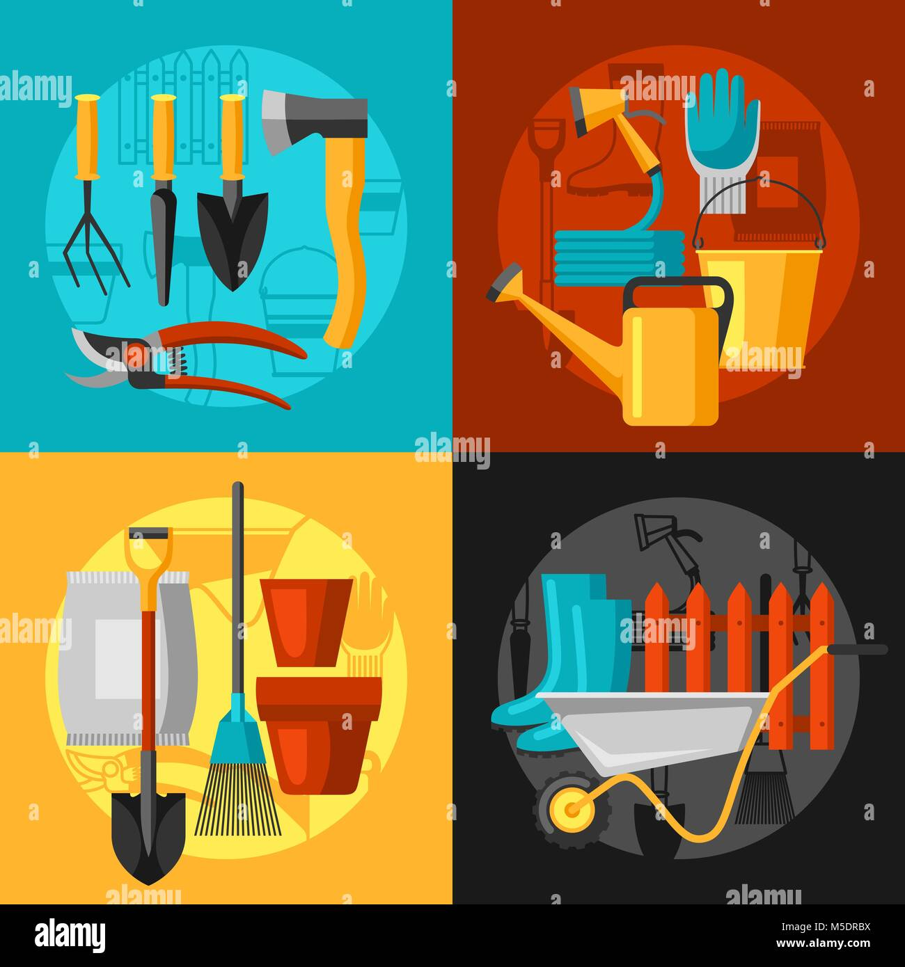 Concept Background With Garden Tools And Icons. All For Gardening Business  Illustration   Stock Image