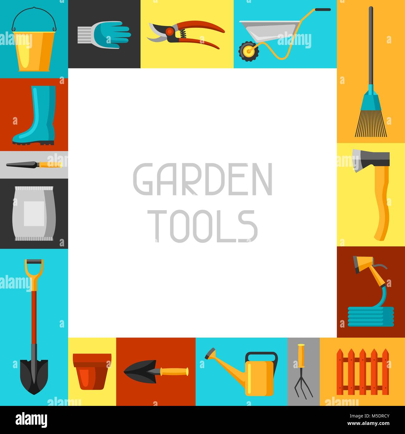 Attrayant Concept Background With Garden Tools And Icons. All For Gardening Business  Illustration