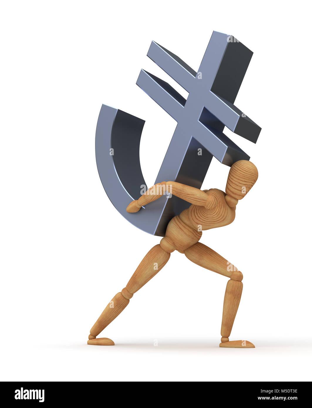 Transfering Turkish Lira (Isolated on white background) Stock Photo