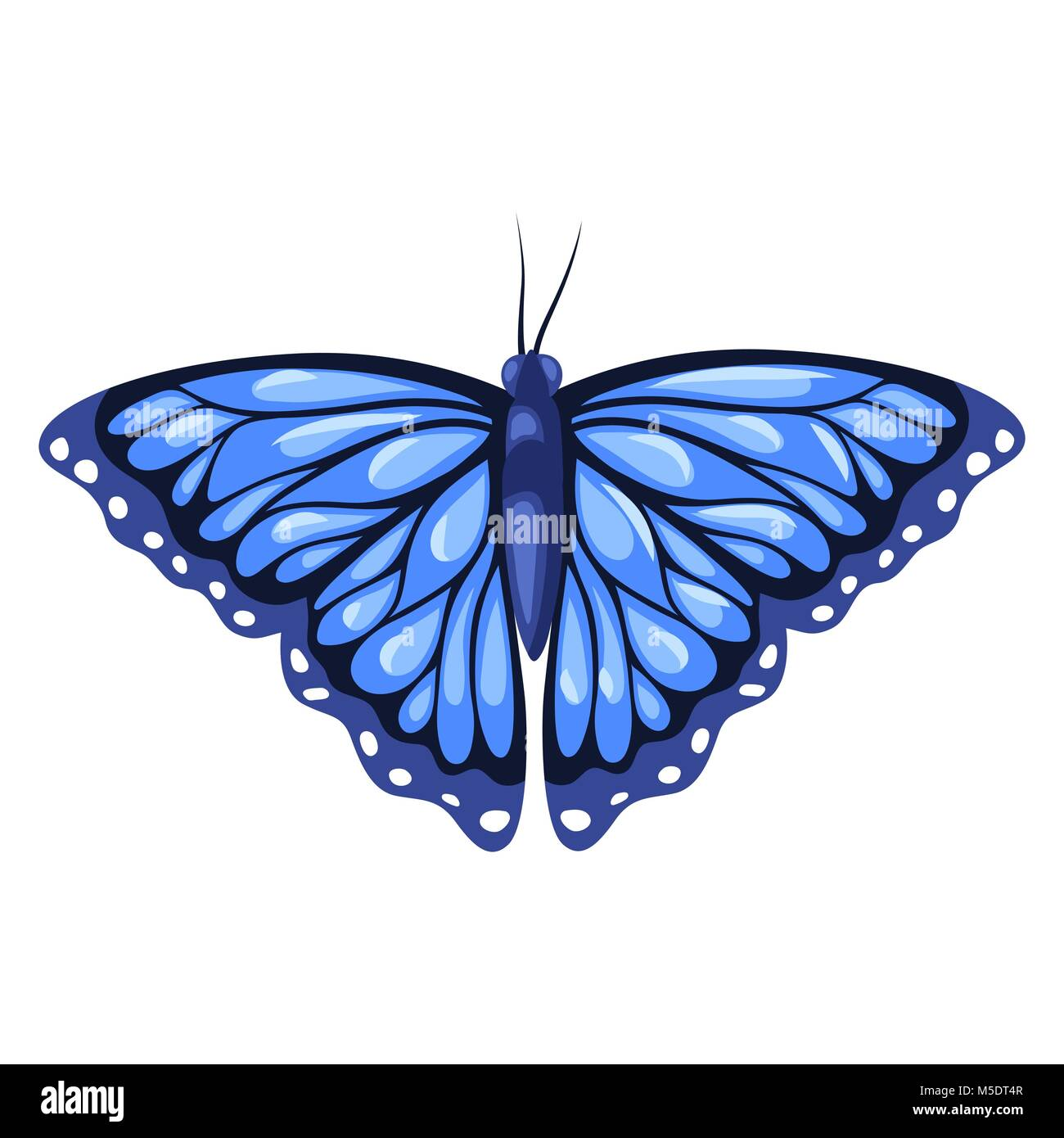 Blue monarch butterfly isolated on white background - Stock Vector