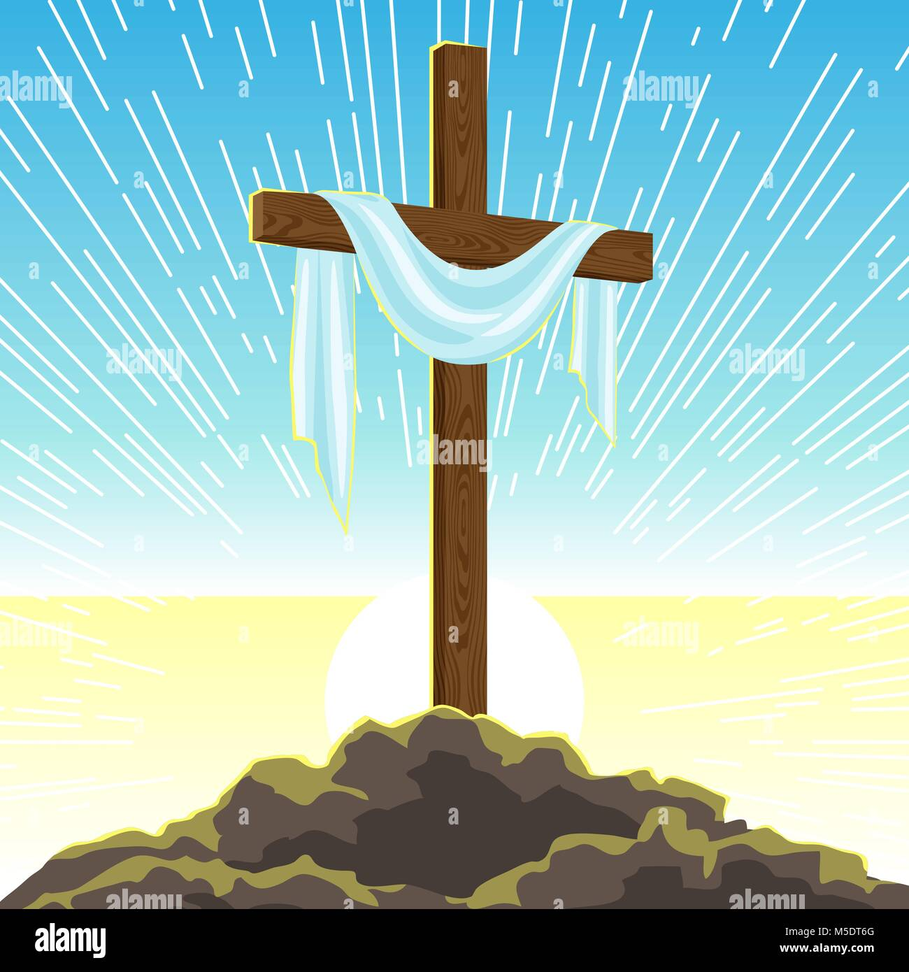 Silhouette Of Wooden Cross With Shroud Happy Easter Concept Stock