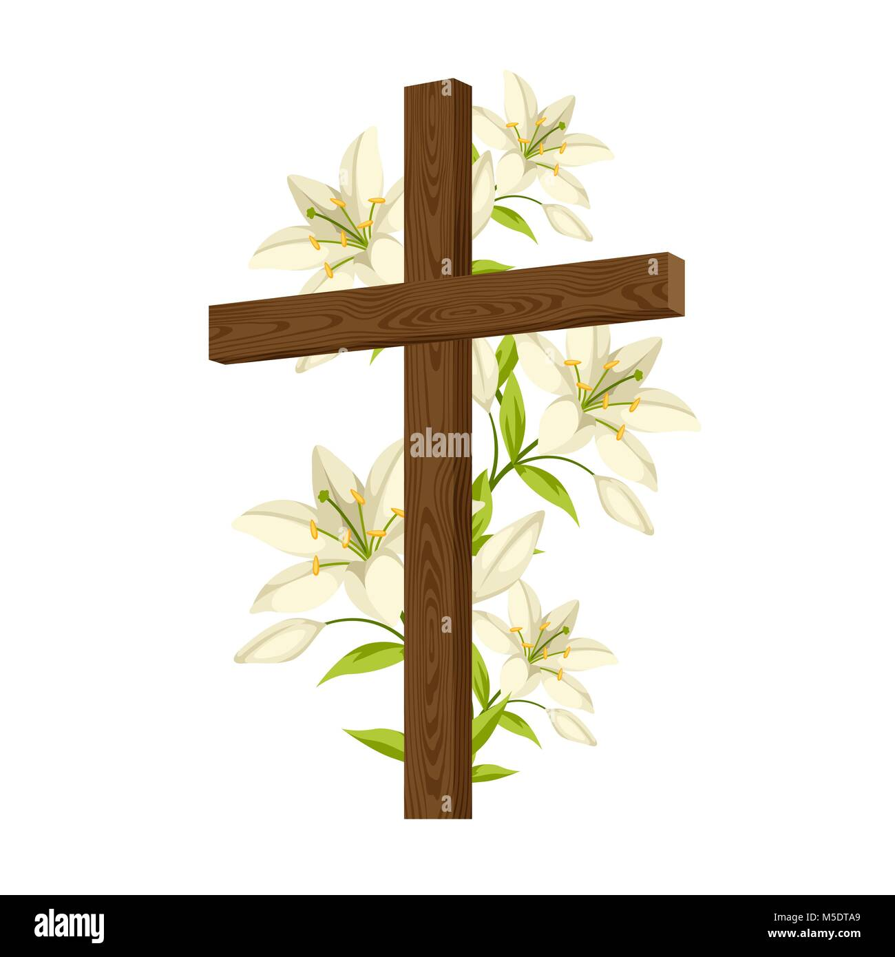 Silhouette Of Wooden Cross With Lilies Happy Easter Concept Stock