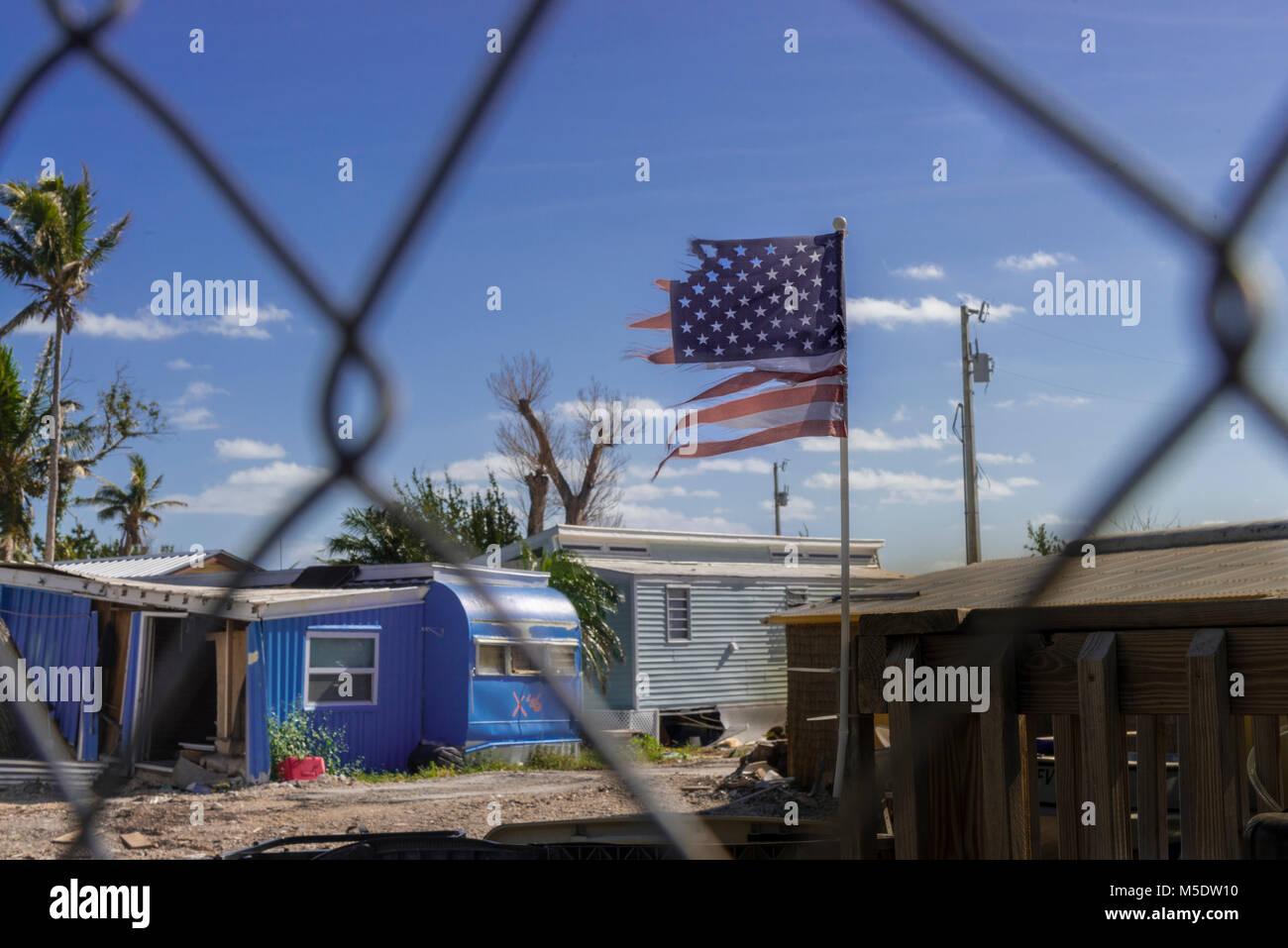 Hurricane Irma Storm Damage To Abandoned Trailer Park, Islamorada, Florida, USA Stock Photo