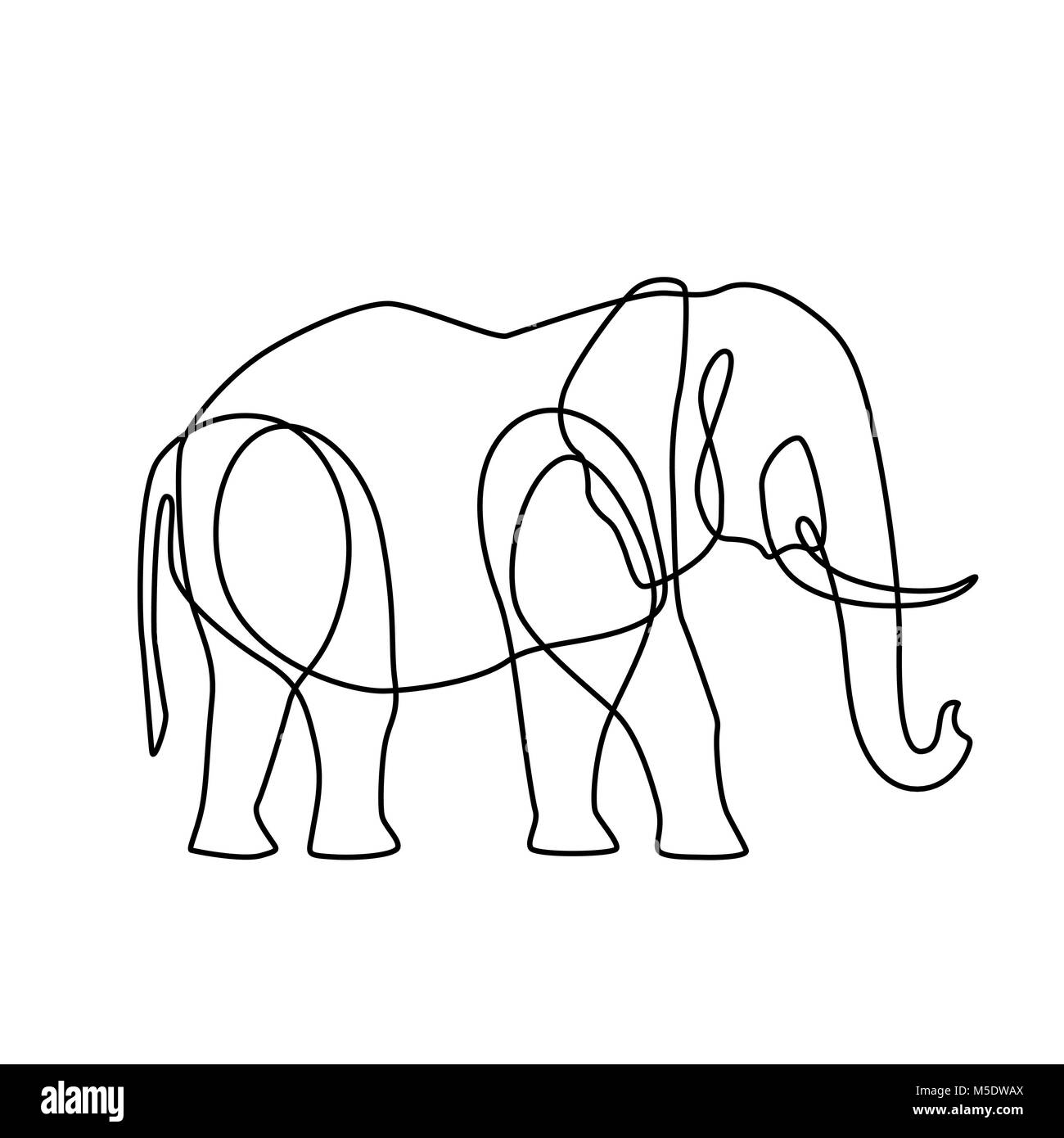 Endless line art illustration of elephant. Continuous black outline drawing on white background - Stock Image