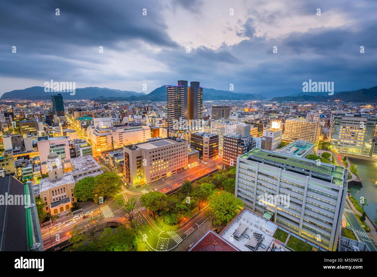 Shizuoka City, Japan downtown skyline at dusk. - Stock Image