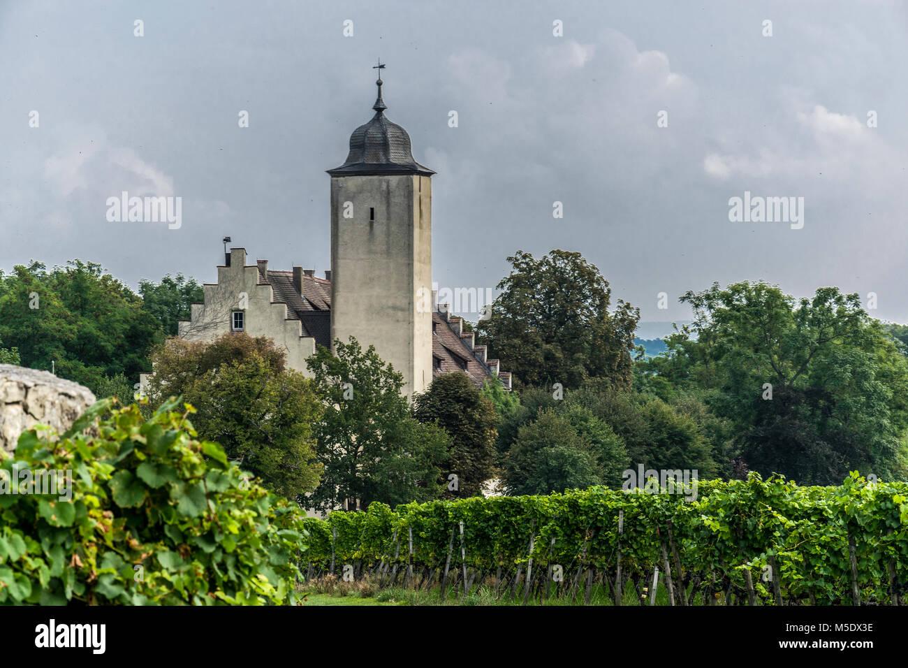Die Hall burg inmitten der Weininsel zwischen Volkach und Sommerach mit rustikaler Gastronomie Stock Photo