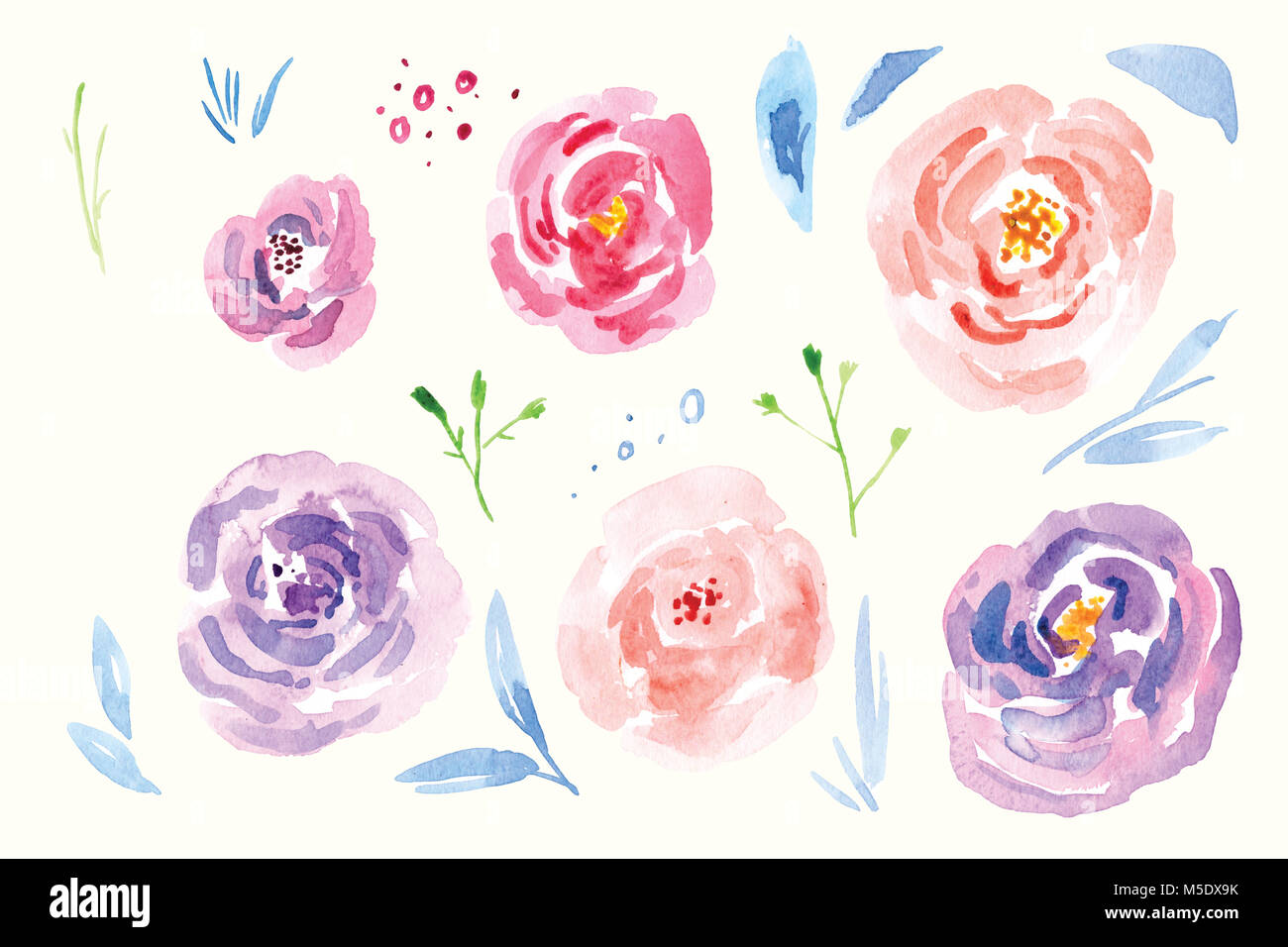 Spring Flower Watercolor Clip Art Hand Painted Flower Bouquets