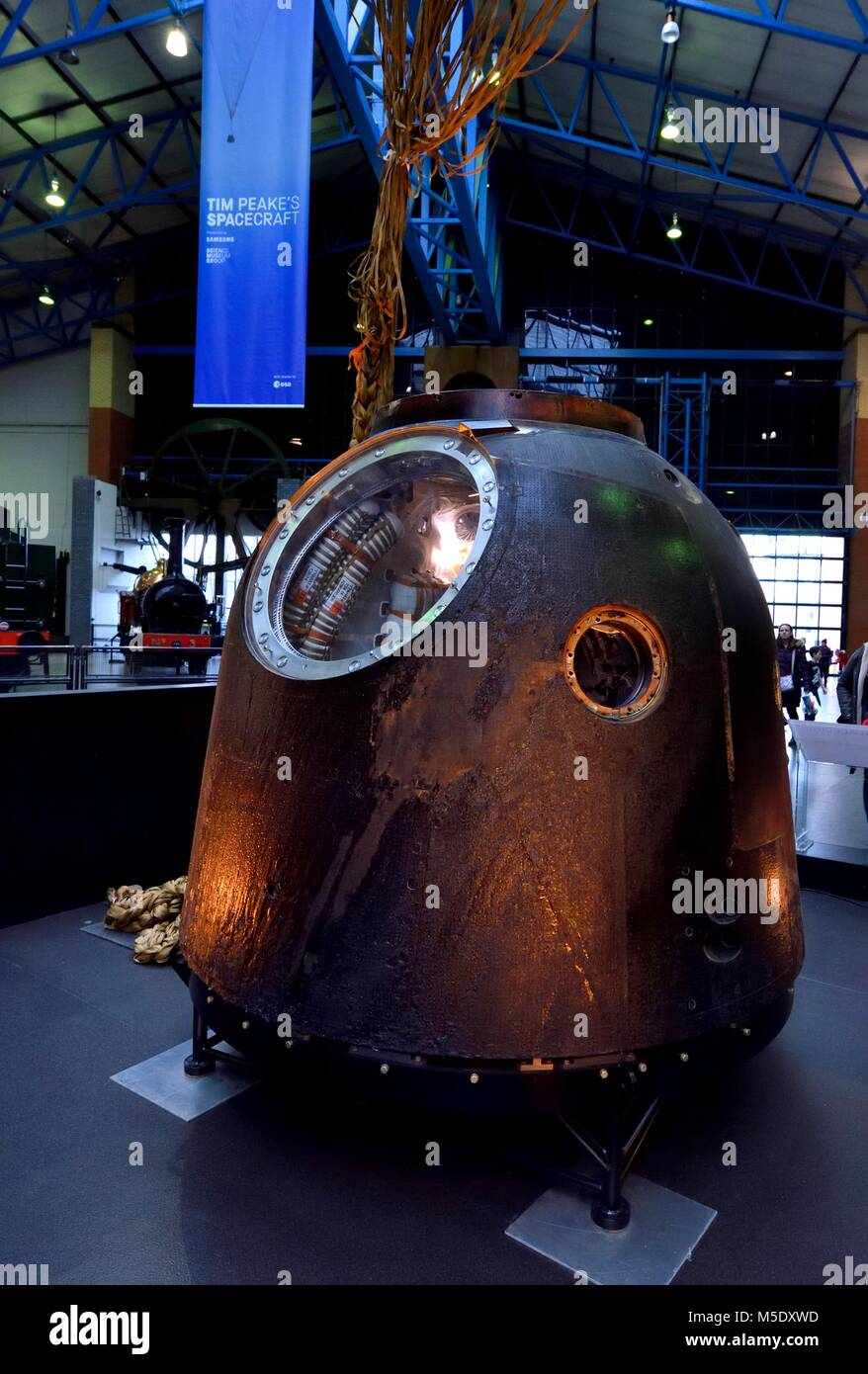 Tim Peake's Spacecraft the Soyuz TMA-19M Decent Module, National Railway Museum in York,North Yorkshire England - Stock Image