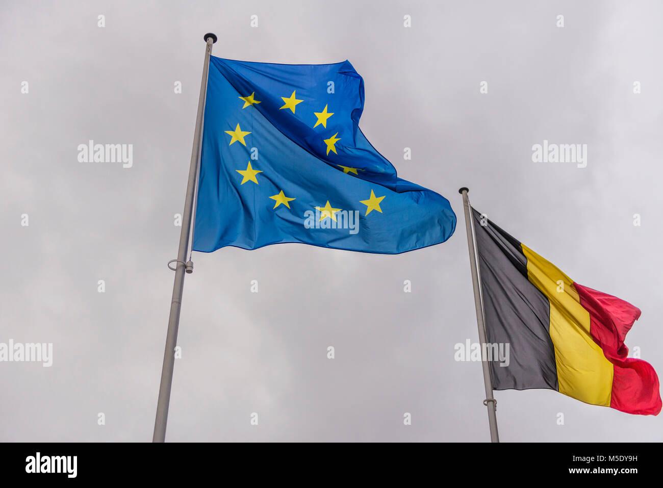 EU and Belgian Flag - Stock Image