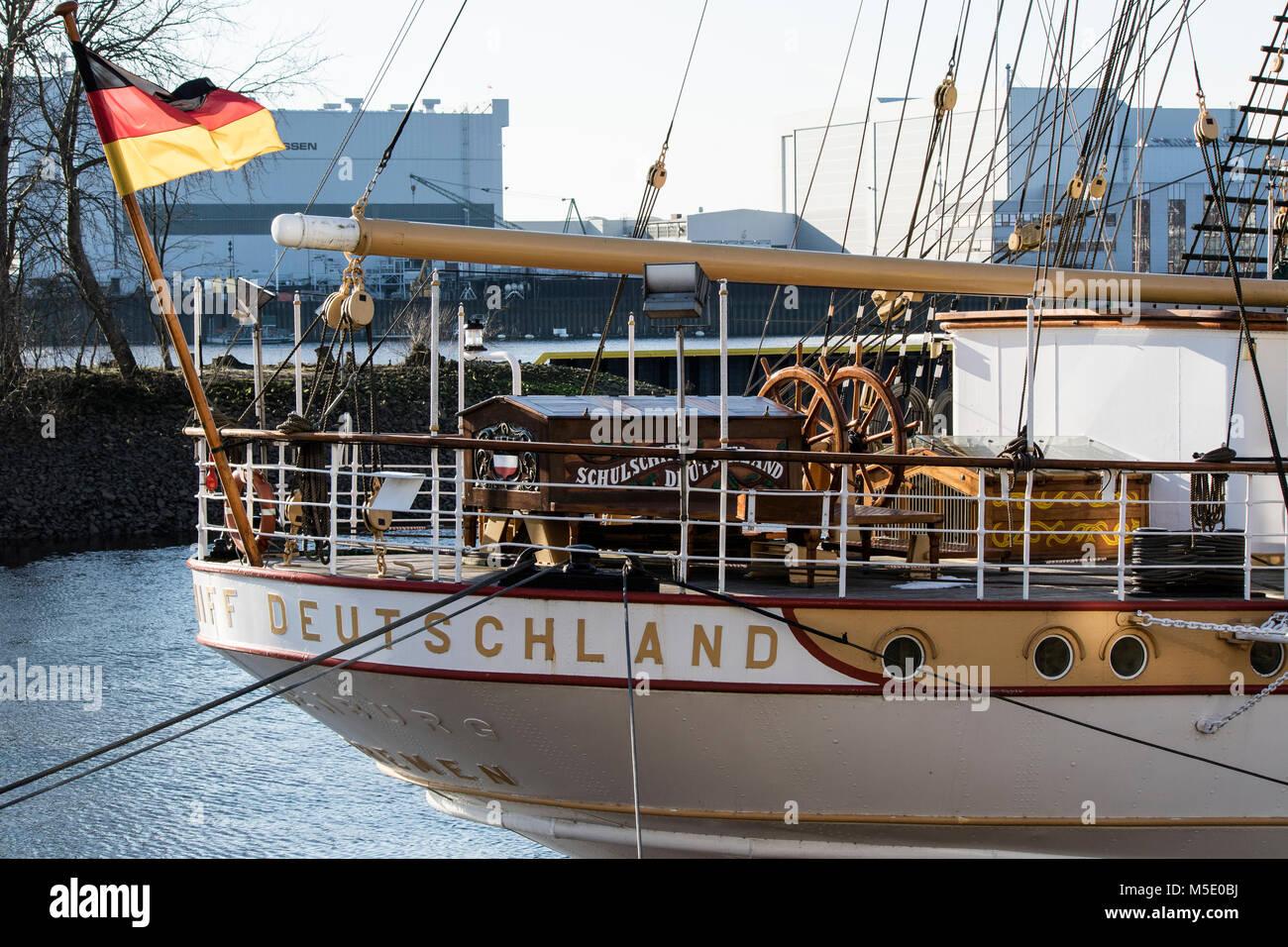 Schulschiff Deutschland, Dreimaster, in Vegesack , Bremen, am Anleger - Stock Image