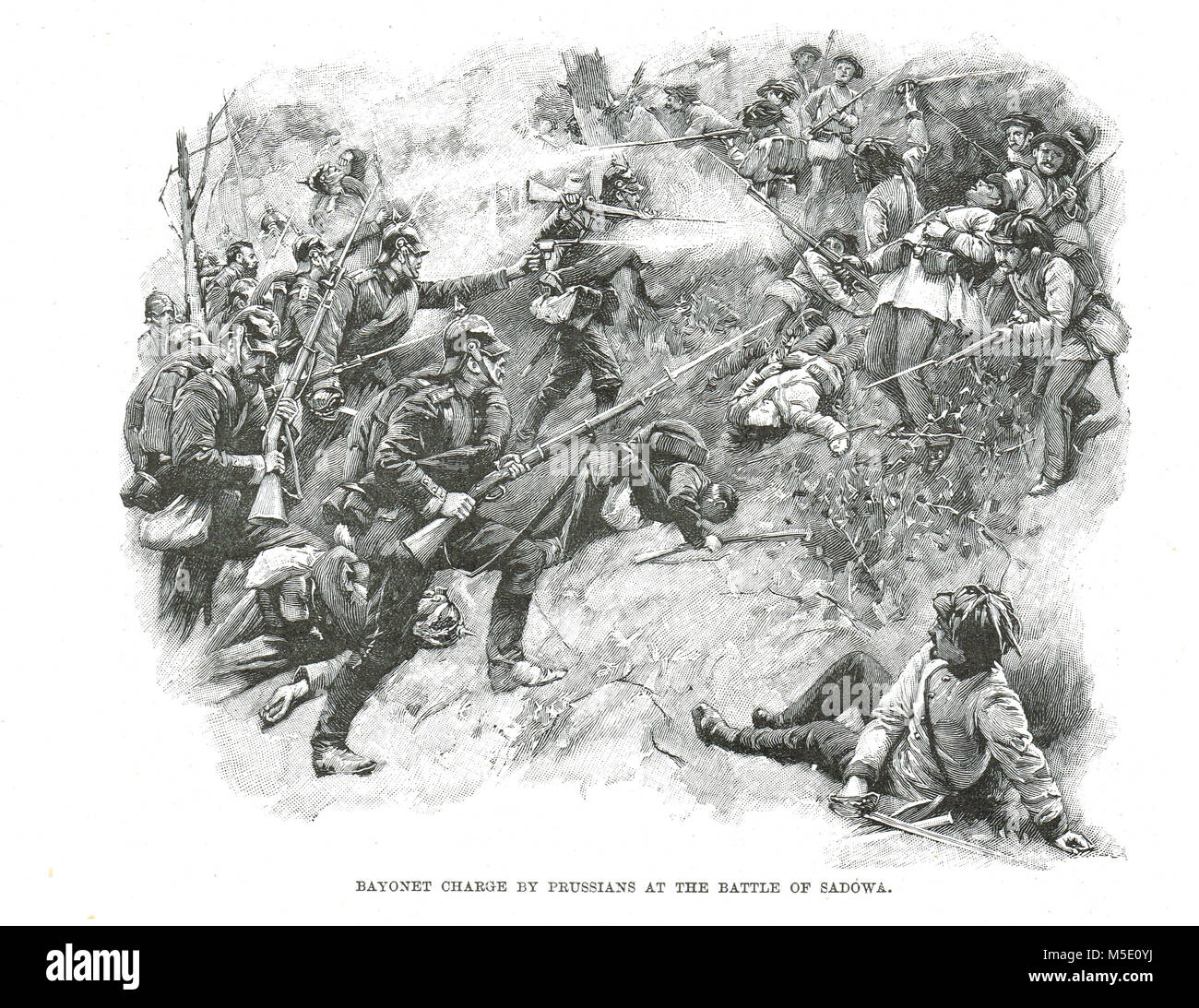 Prussian Bayonet charge, Battle of Sadowa, 3 July 1886,  also known as Battle of Königgrätz, Sadová - Stock Image
