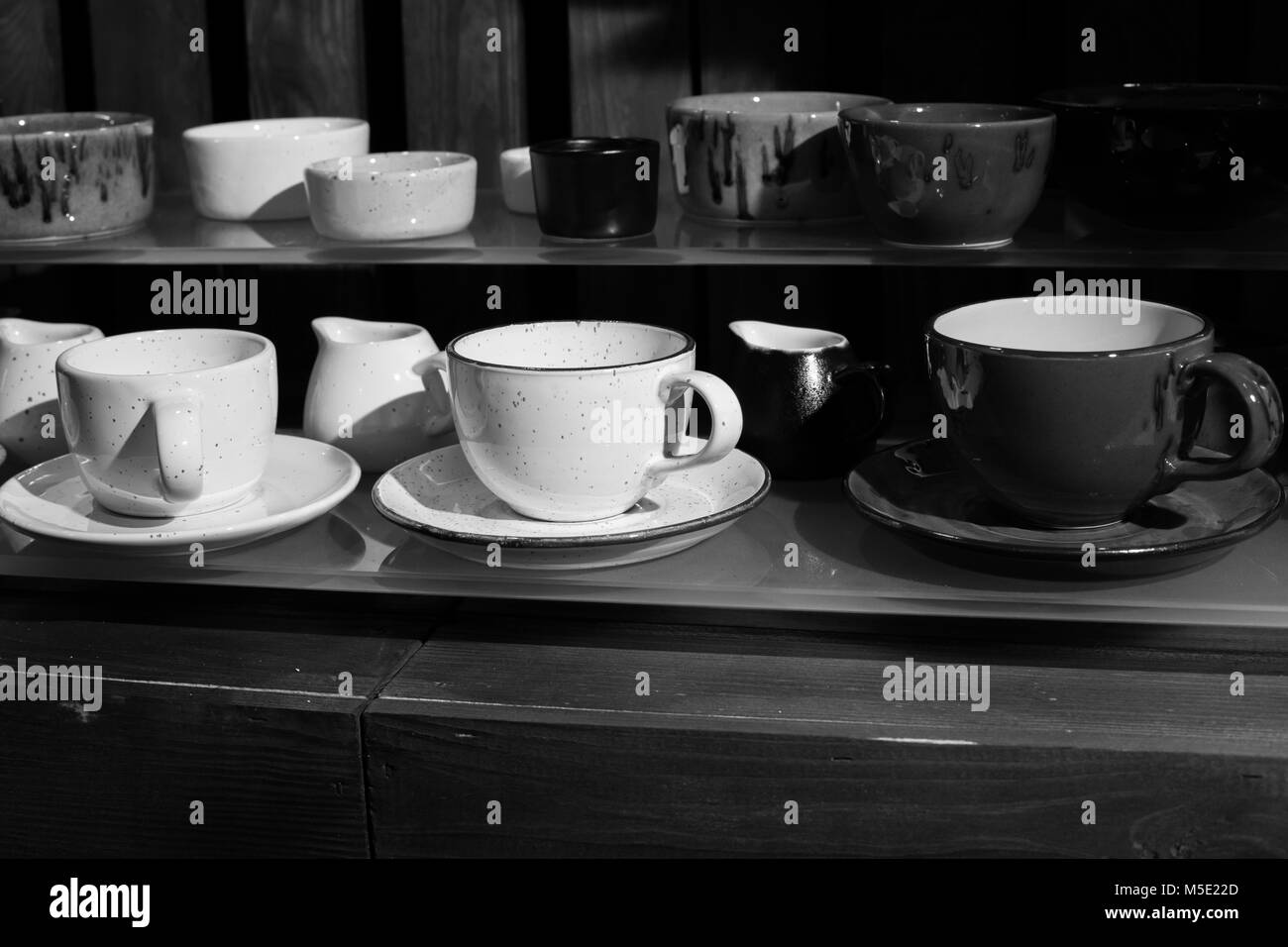 wood, espresso, morning, coffee, white, cup, a cup, tree, box, kitchen, black and white, retro, kitchen tools - Stock Image
