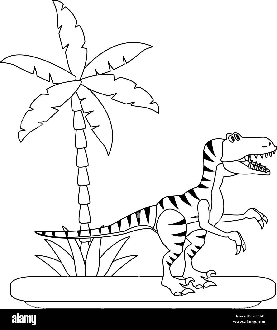 Trex dinosaur on forest cartoon - Stock Image
