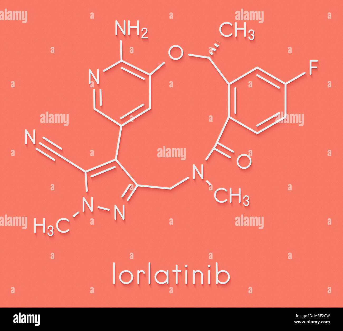 Lorlatinib cancer drug molecule. Skeletal formula. - Stock Image