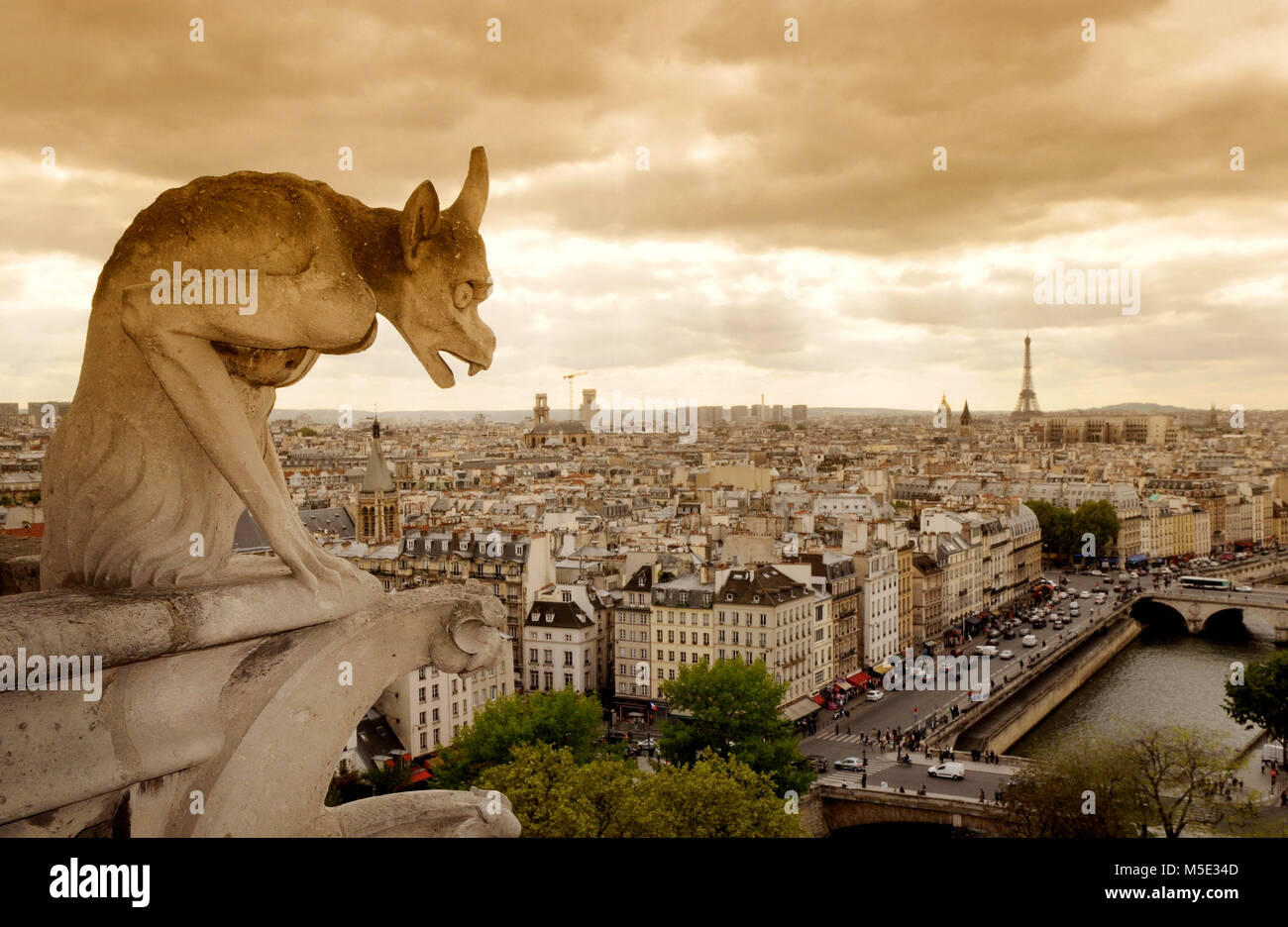 A stone demon gargoyle, statue on the Notre Dame Cathedral,Paris, France - Stock Image