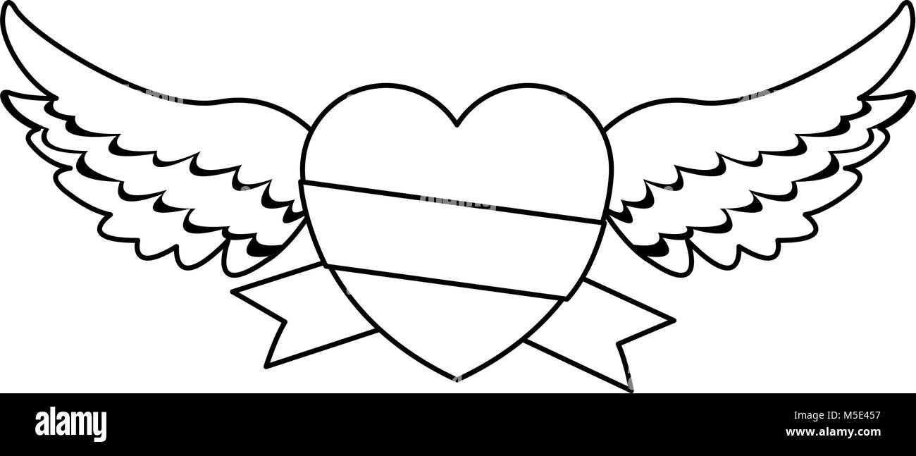 Heart With Wings And Ribbon Banner Stock Vector Image Art Alamy