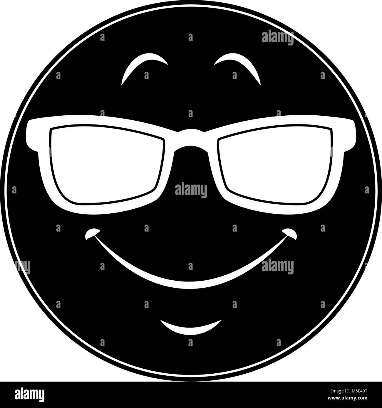 Emoji with sunglasses - Stock Image