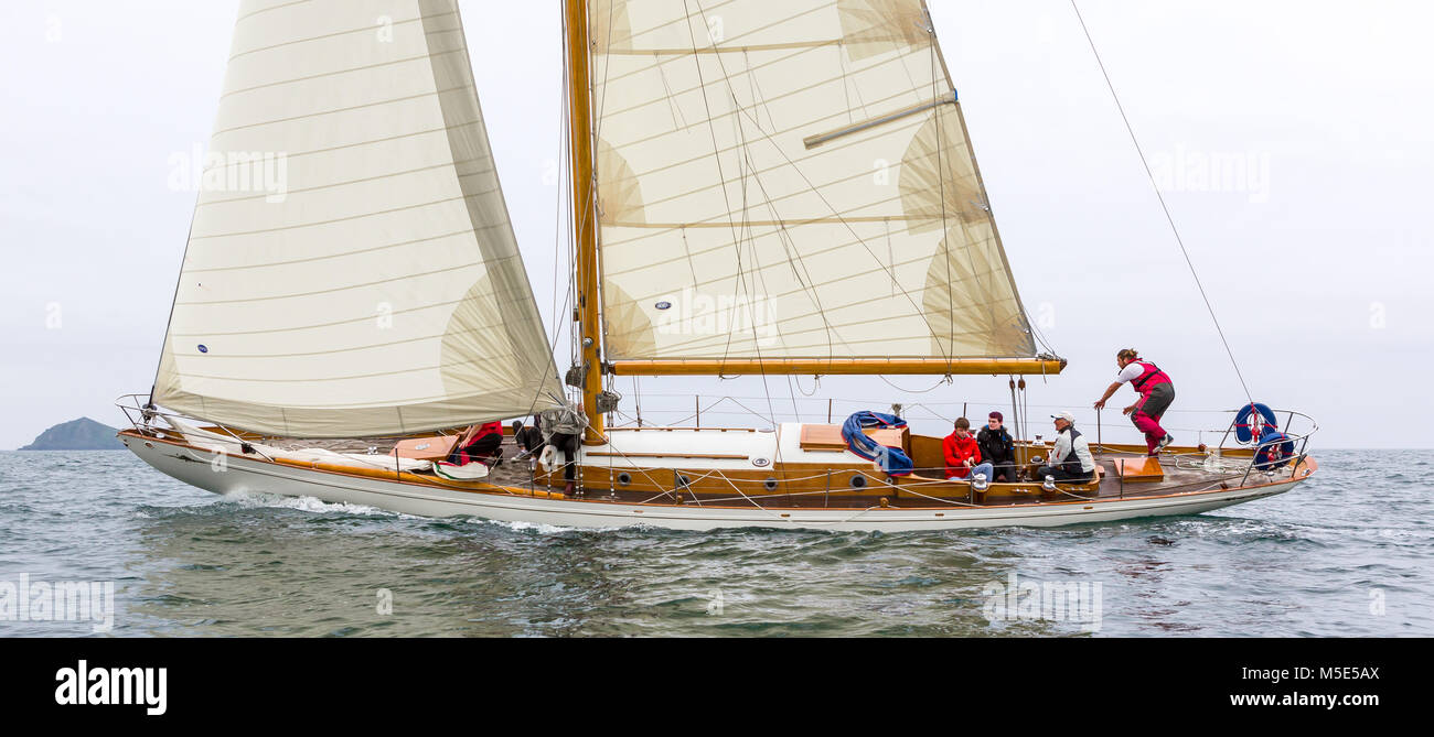 The Classic Wooden Yacht Sibyl Of Cumae Under Full Sail Stock Photo