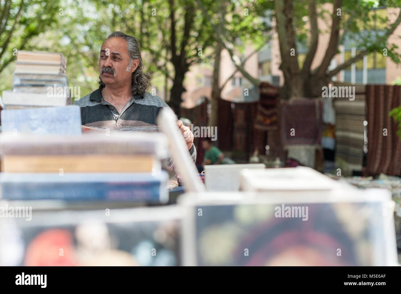 Book seller at the flea market in Yerevan,Armenia. - Stock Image
