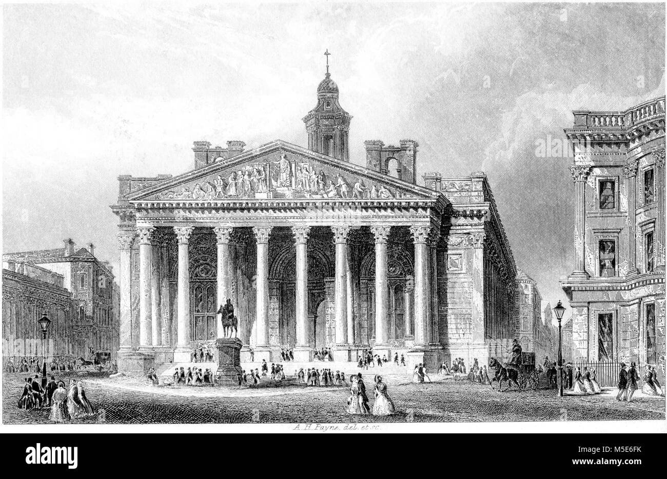 An engraving of the Royal Exchange, London scanned at high resolution from a book printed in 1851. Believed copyright - Stock Image