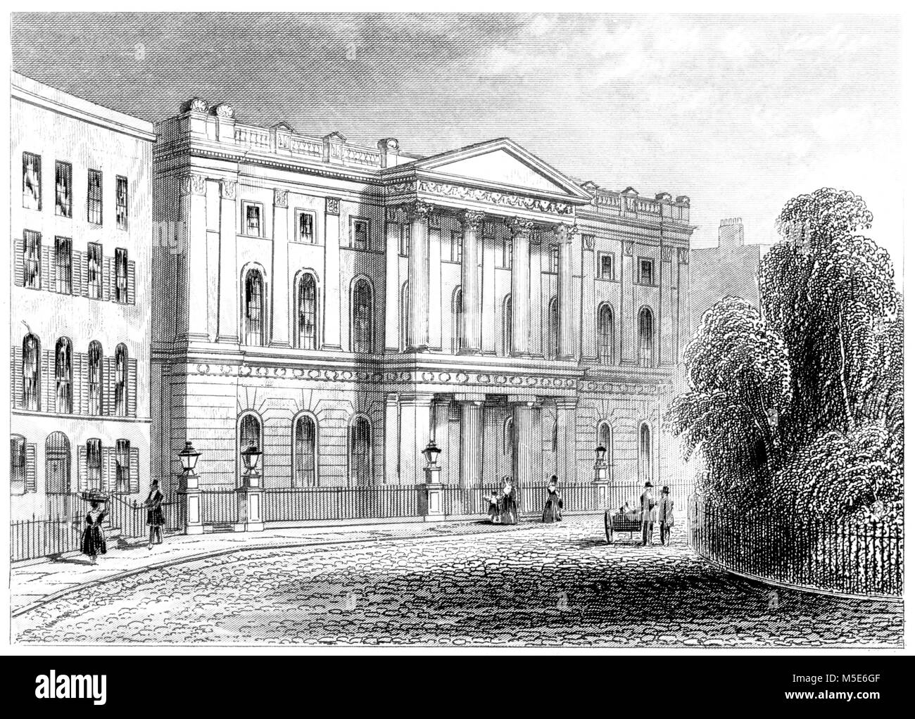 An engraving of the London Institution, Finsbury Circus, London scanned at high resolution from a book printed in - Stock Image