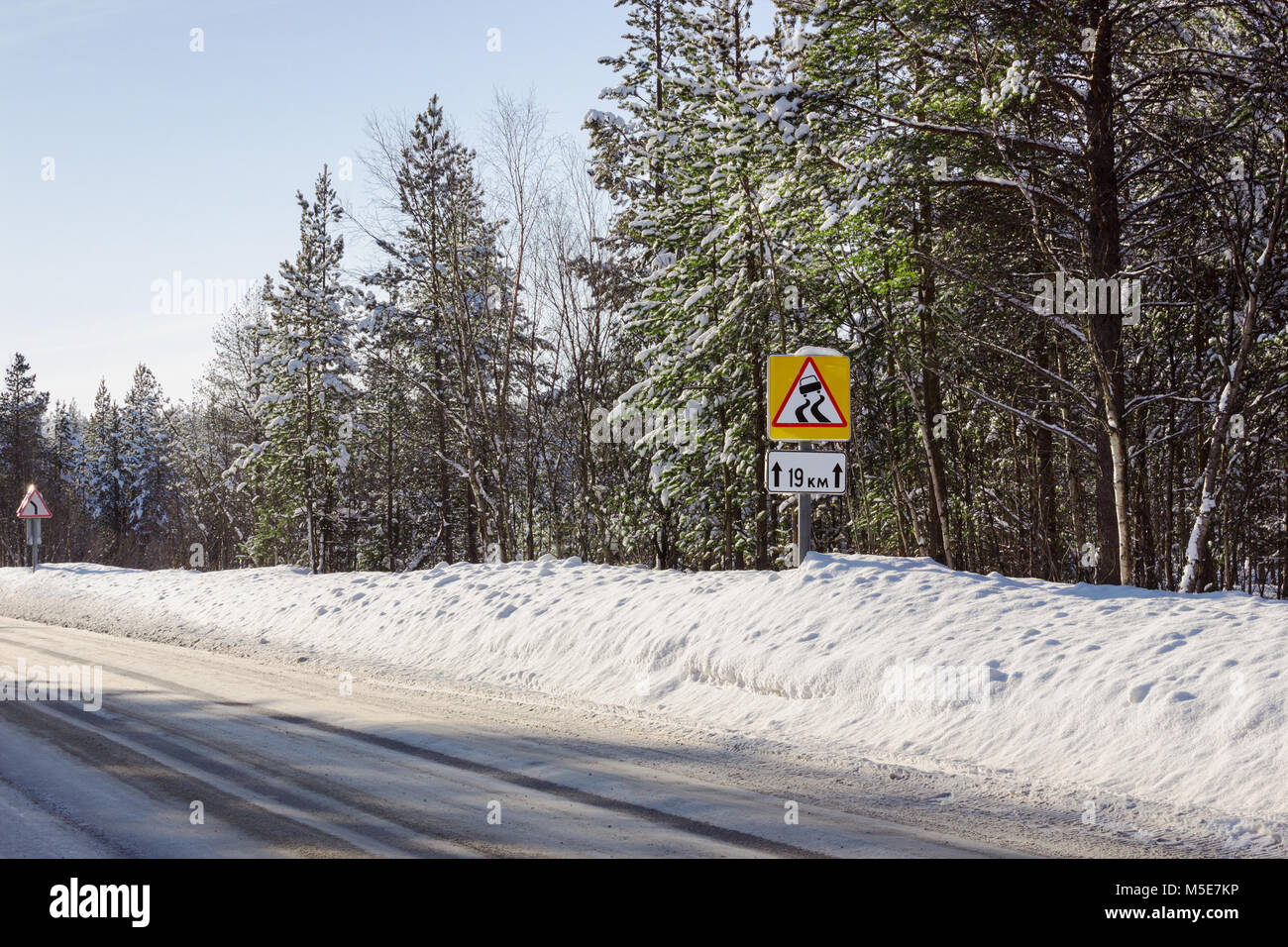 Slippery winter road segment times, the northern region - Stock Image