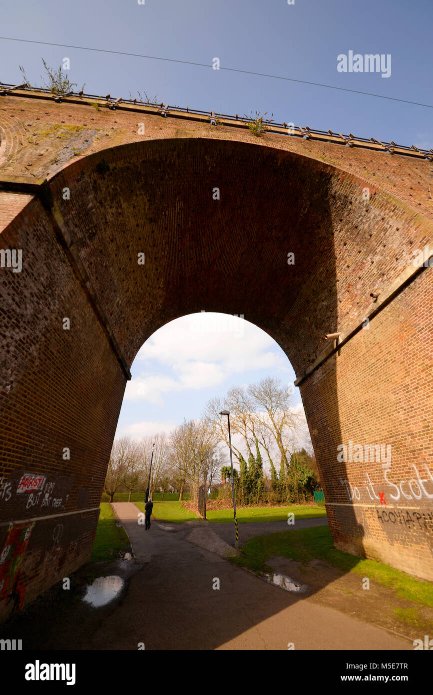 Railway viaduct arch in Central Park, Chelmsford, Essex. Space for copy - Stock Image