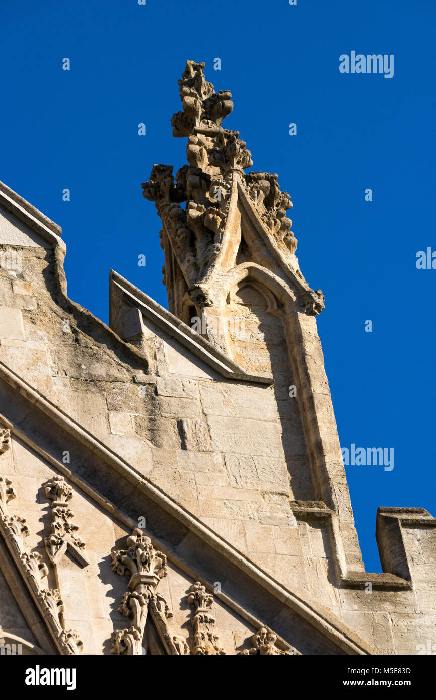 Close Up Roof and Pinnacle Detail of the Top of the West Front; Exeter Cathedral, Exeter, Devon, England. - Stock Image