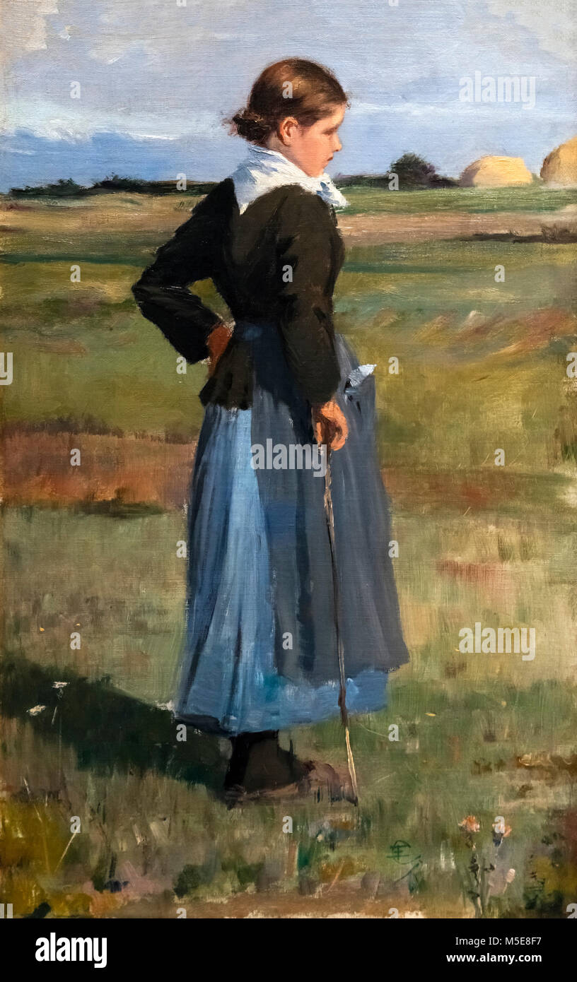 Childe Hassam (1859-1935) 'French Peasant Girl', oil on canvas, c.1883 - Stock Image