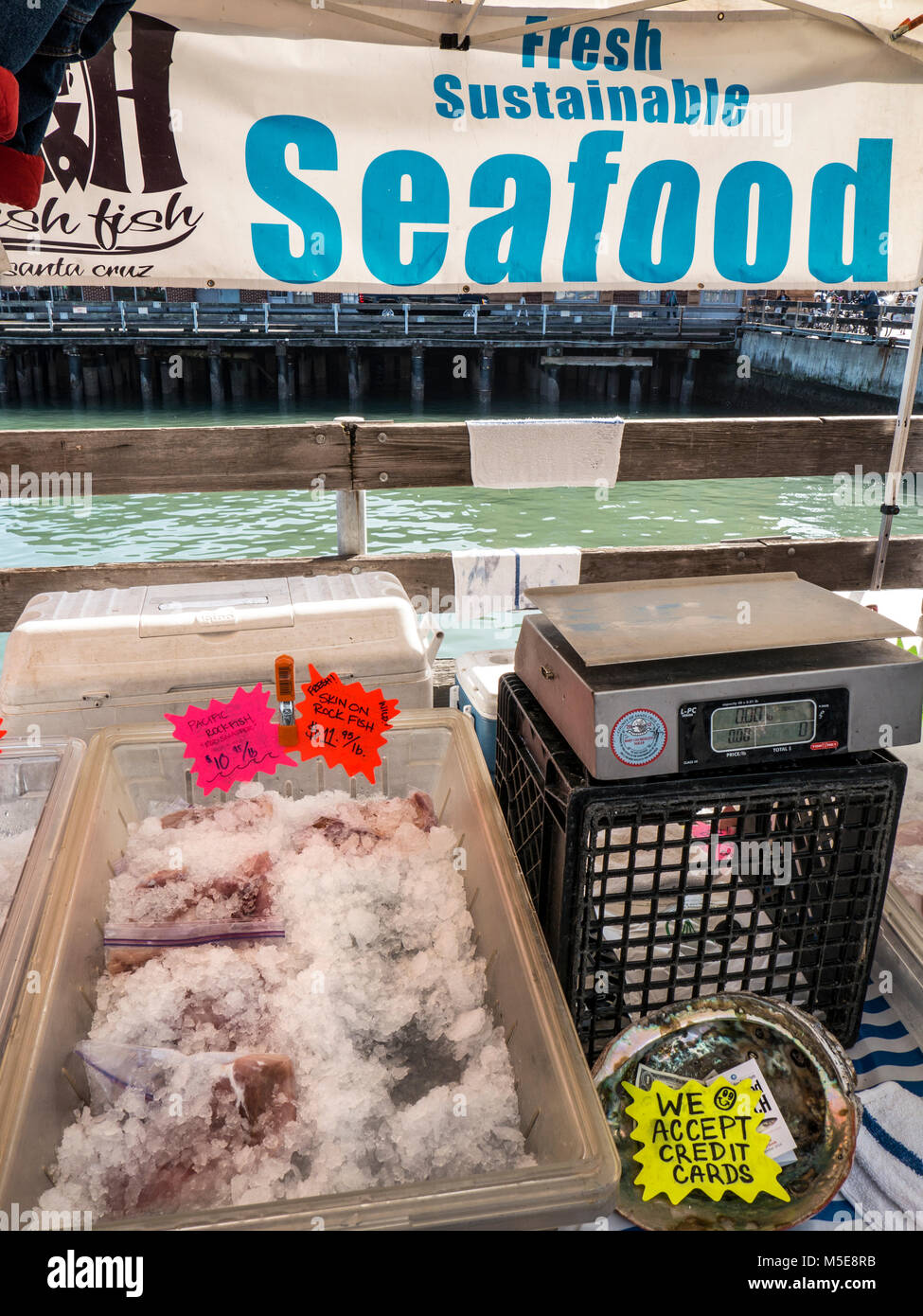 FRESH SUSTAINABLE SEAFOOD coastal Farmers Market with fresh local sustainable fish stall Ferry Building Embarcadero - Stock Image