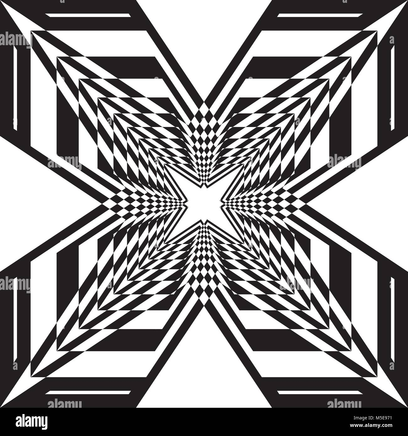 Arabesque stellar ship abstract black on transparent background - Stock Vector