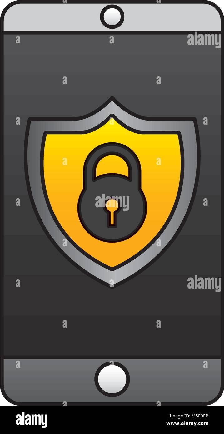 smartphone padlock security protection data app - Stock Image