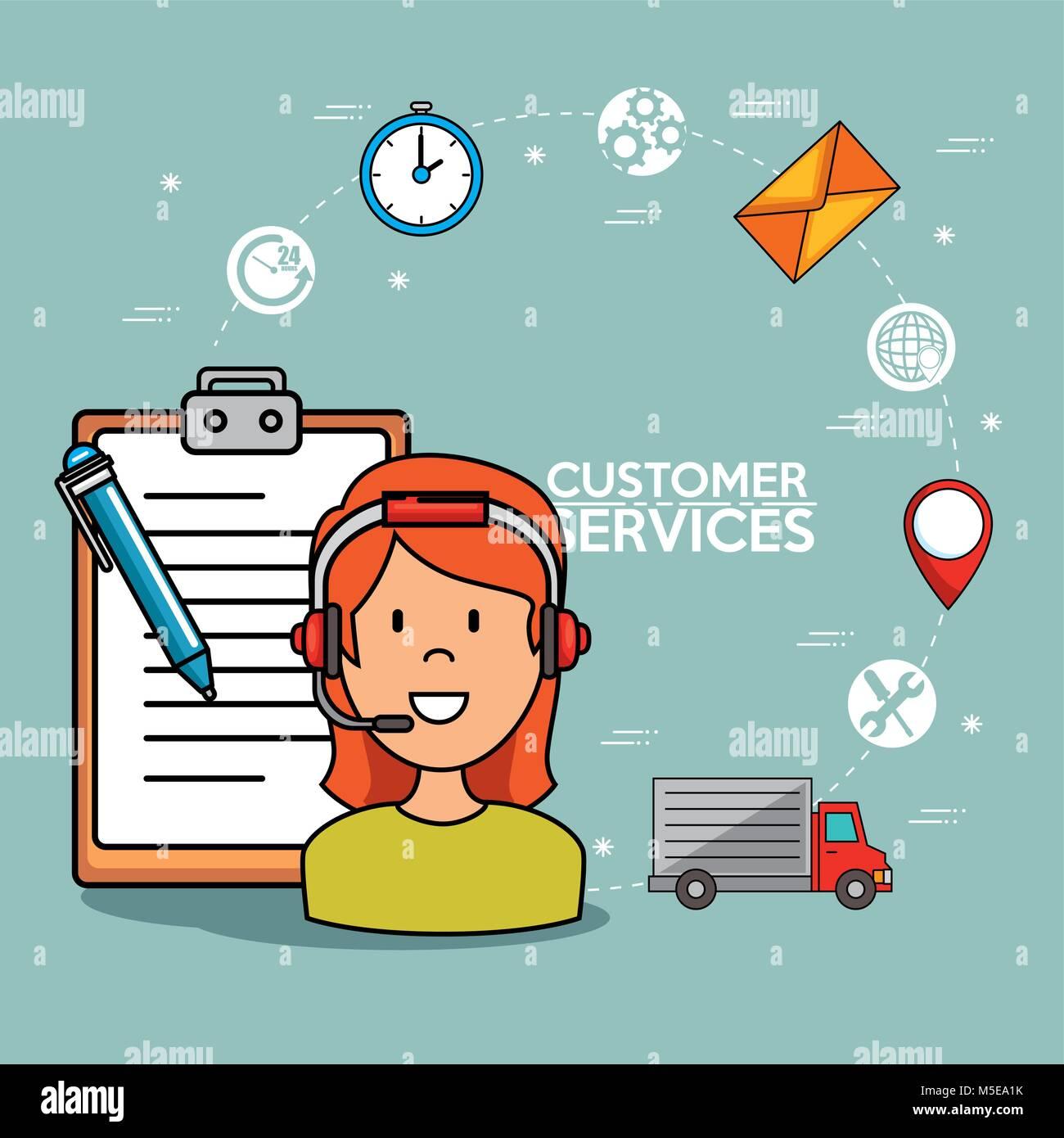 Woman Support Call center phone service Stock Vector Art