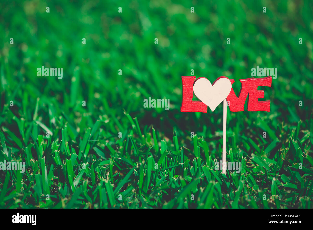 Wooden love sign on stick in meadow. Valentine's day concept. Space for copy - Stock Image