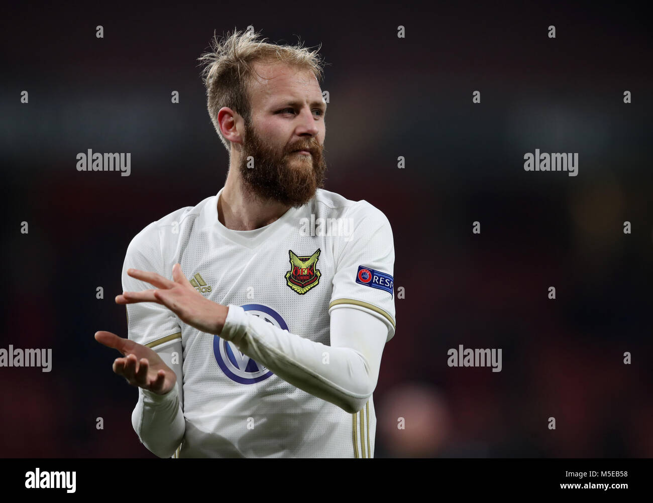 Ostersunds FK's Curtis Edwards during the UEFA Europa League round of 32, second leg match at the Emirates Stadium, Stock Photo