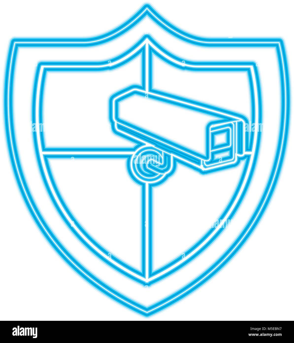 shield protection surveillance camera data system - Stock Image