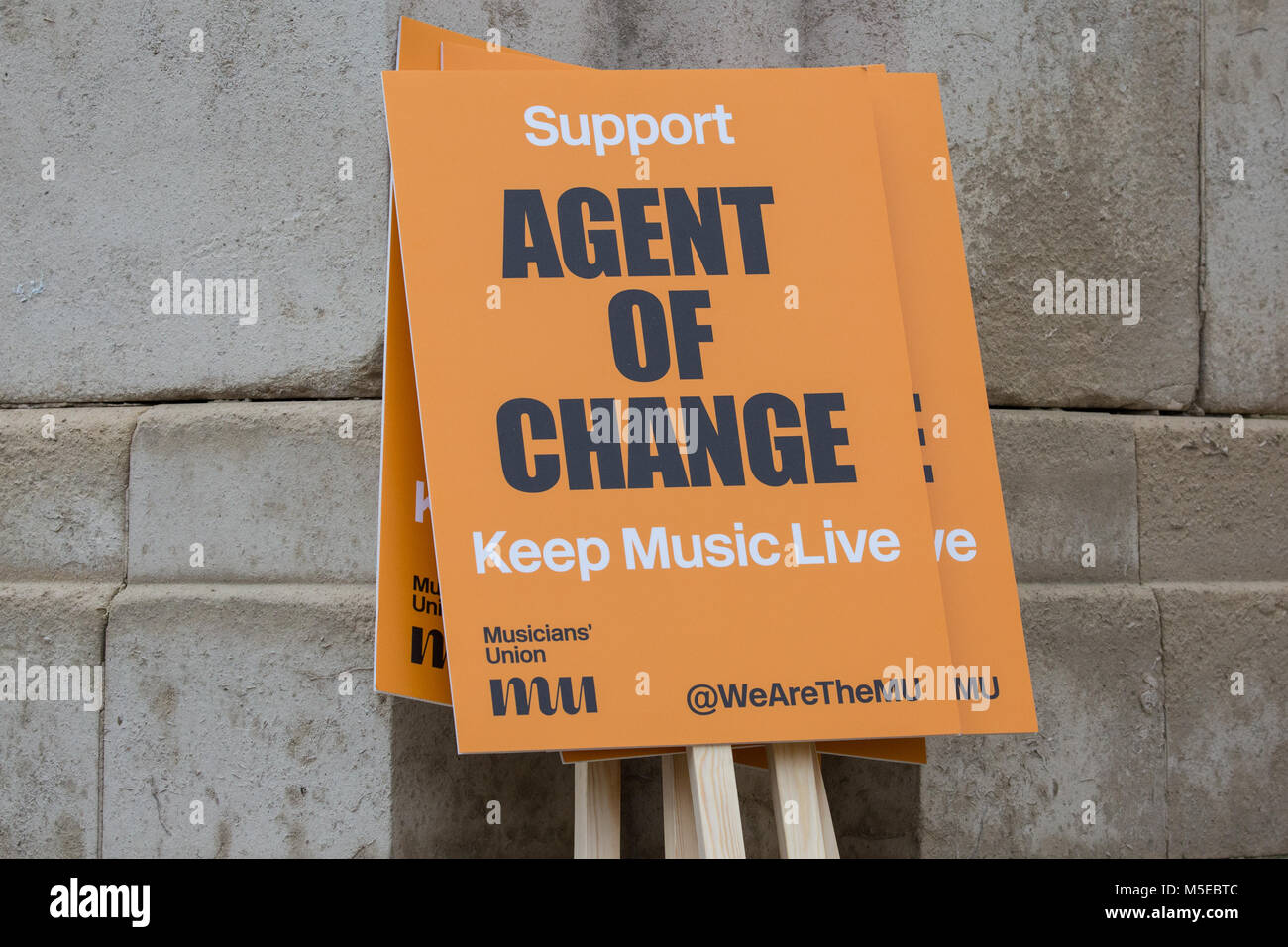 London, UK. 10th Jan, 2018. A placard for the Agent Of Change campaign at a protest in support of a Bill in Parliament - Stock Image