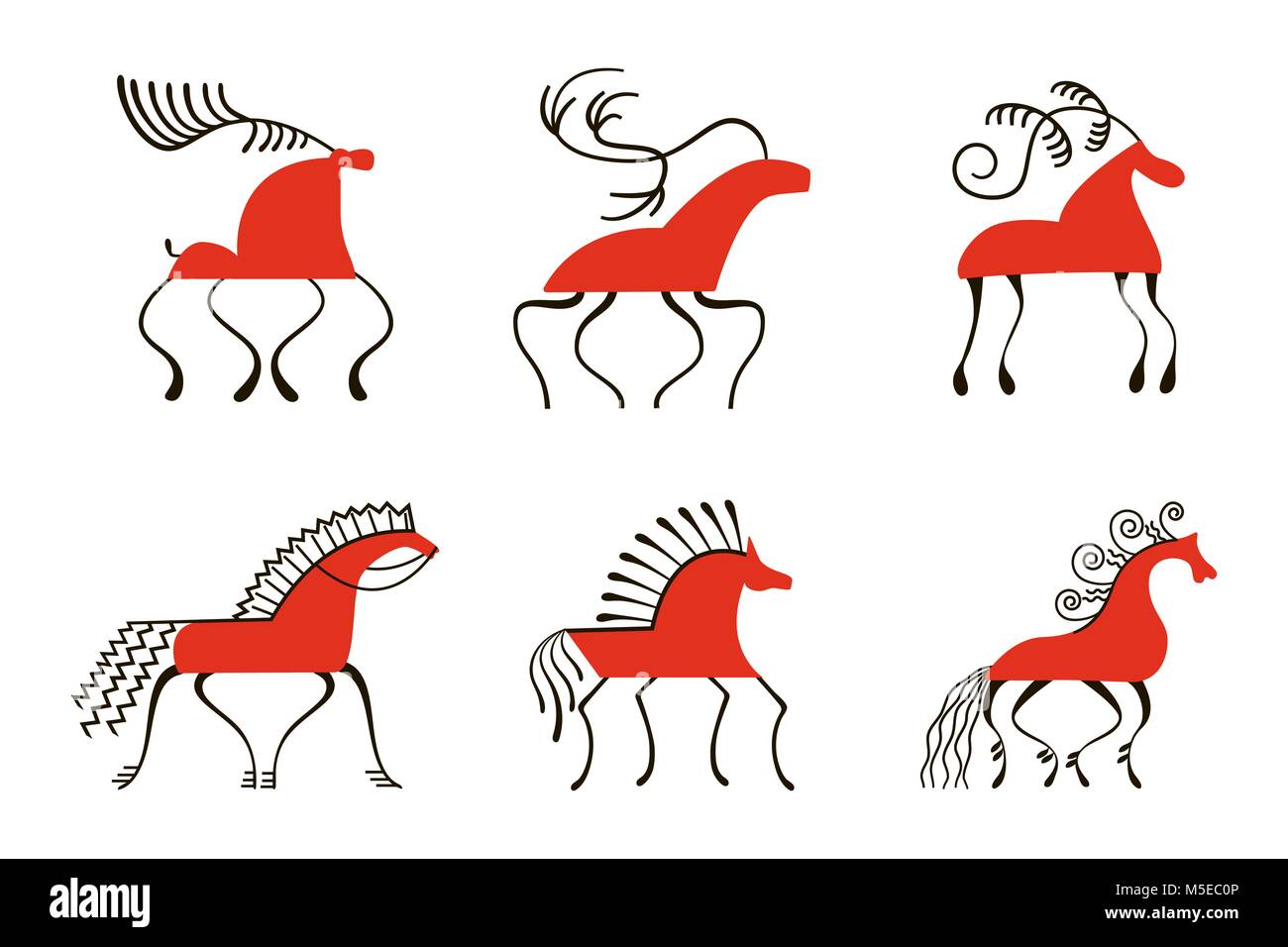 Set of six red horses. National northen paintings. Folk handicrafts. Enchanting original ornaments. Simplicity. - Stock Image
