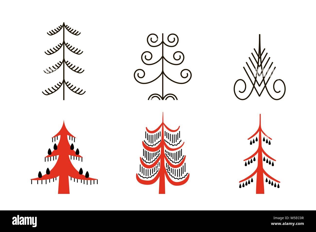 Set of six red trees. National northen paintings. Folk handicrafts. Enchanting original ornaments. Simplicity. flat - Stock Vector