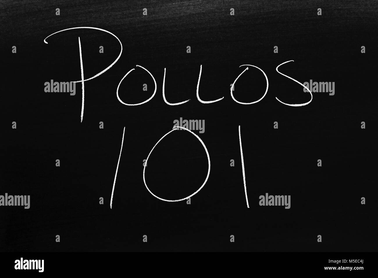 The words Pollos 101 on a blackboard in chalk - Stock Image